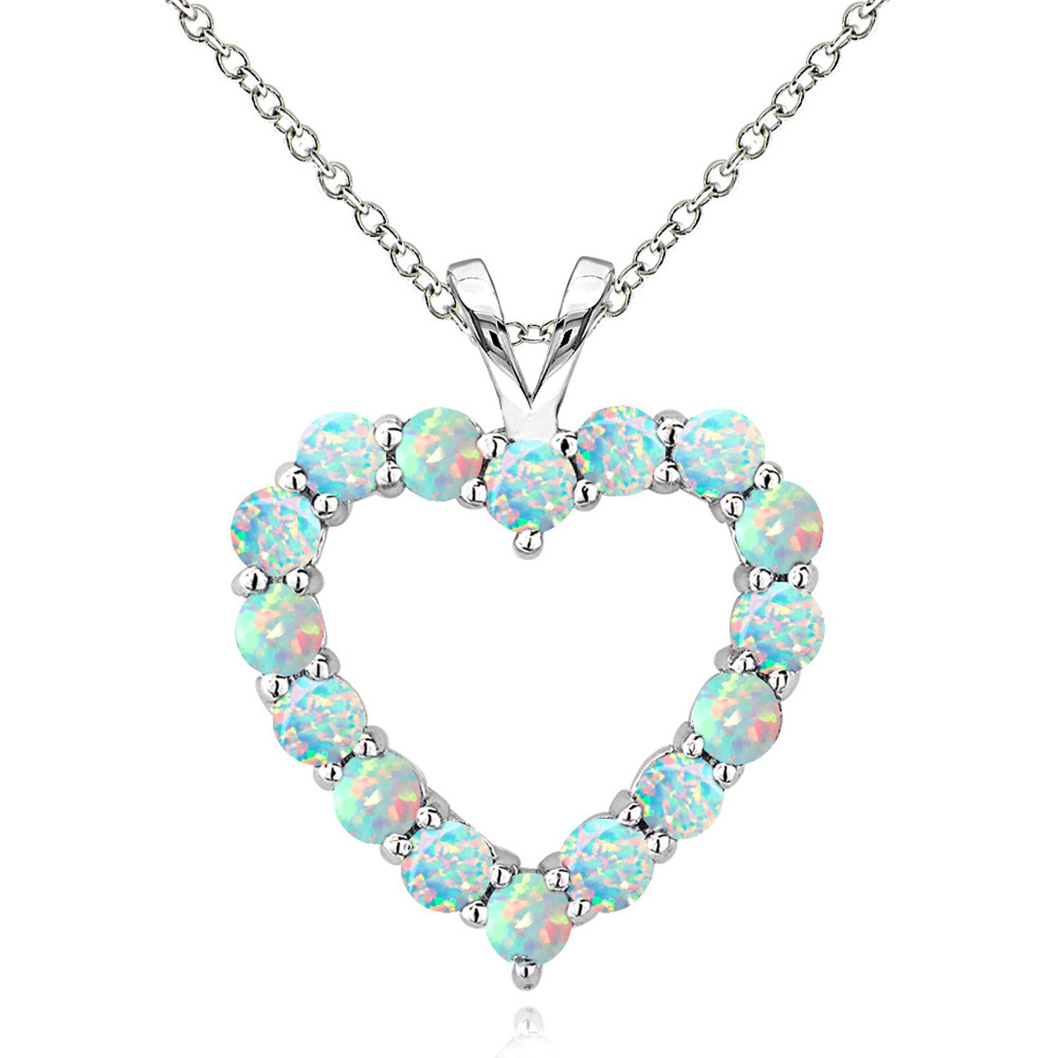 Open Heart Birthstone Necklace in Sterling Silver - October Created Opal