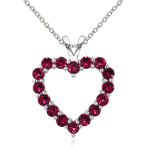Open Heart Birthstone Necklace in Sterling Silver - July Created Ruby