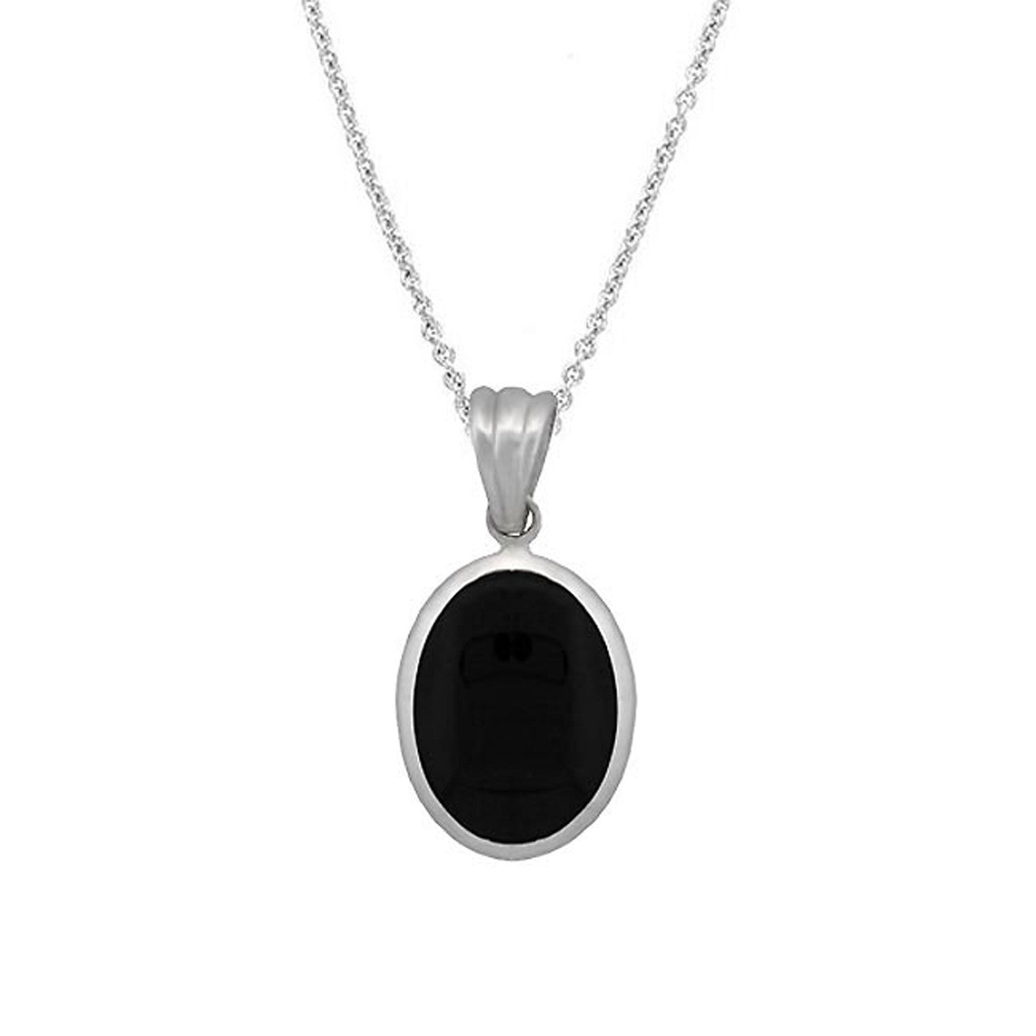 Oval Onyx Stone Pendant in Sterling Silver - 18 Inches