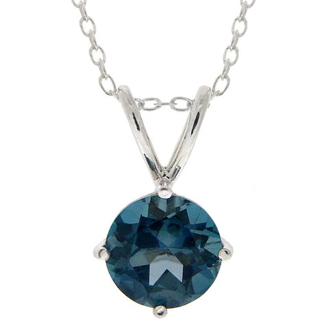 Sterling Silver Rolo Chained Solitaire Necklace - London Blue Topaz