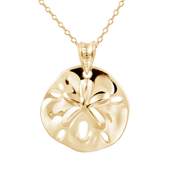 Sterling Silver Sand & Dollar Necklace - Gold Over Silver