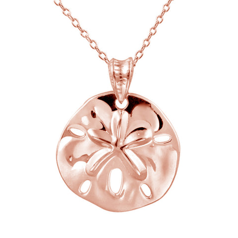 Sterling Silver Sand & Dollar Necklace - Rose Gold Over Silver