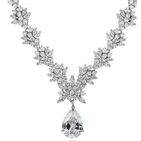 Sterling Silver Marquise Cubic Zirconia Necklace