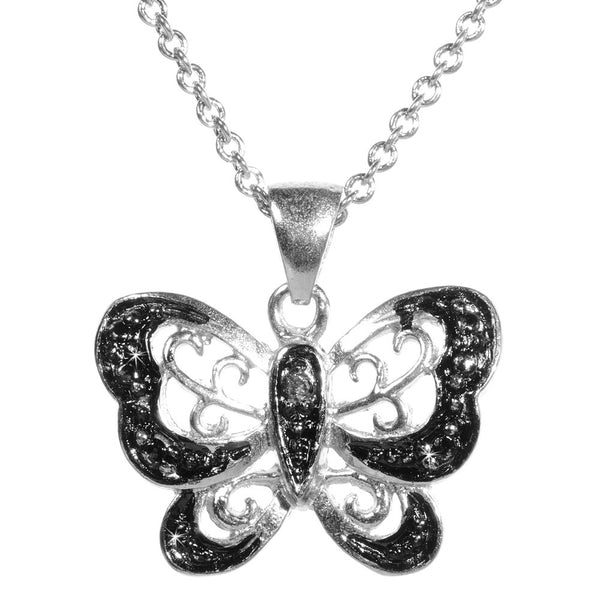 Black Diamond Accented Silver Butterfly Pendant
