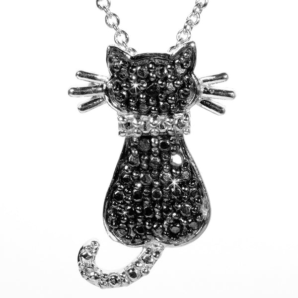 Black Diamond Accented Silver Cat Pendant