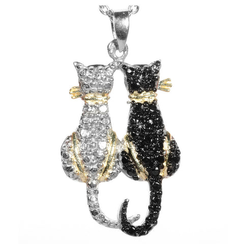 Black Diamond Accented Silver Cats Pendant