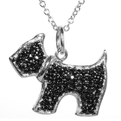 Black Diamond Accented Silver Dog Pendant