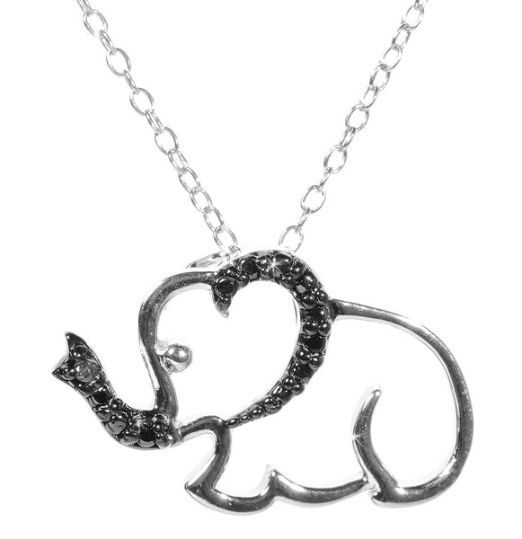 Black Diamond Accented Silver Elephant Pendant
