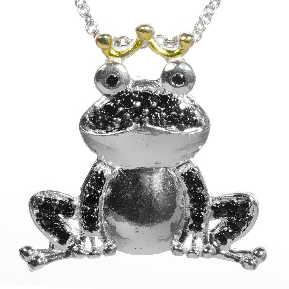 Black Diamond Accented Silver Frog Prince Pendant