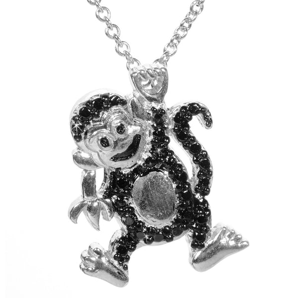 Black Diamond Accented Silver Monkey Pendant