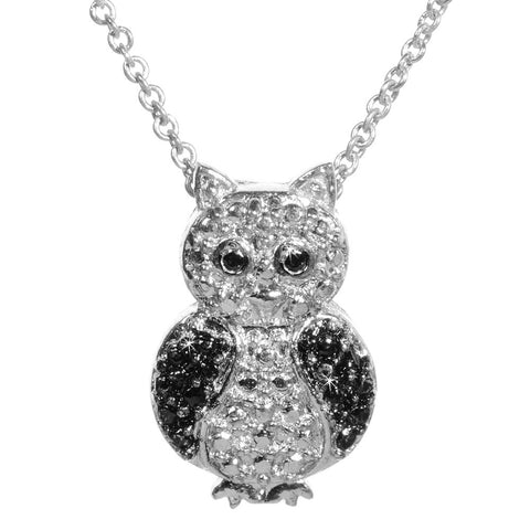 Black Diamond Accented Silver Owl Pendant