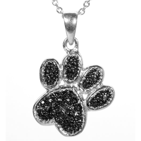 Black Diamond Accented Silver Paw Pendant