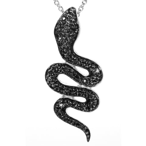 Black Diamond Accented Silver Snake Pendant