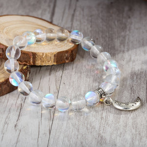 Handmade Moonstone Bead Elastic Thread Stat and Moon Charm Women Bracelet