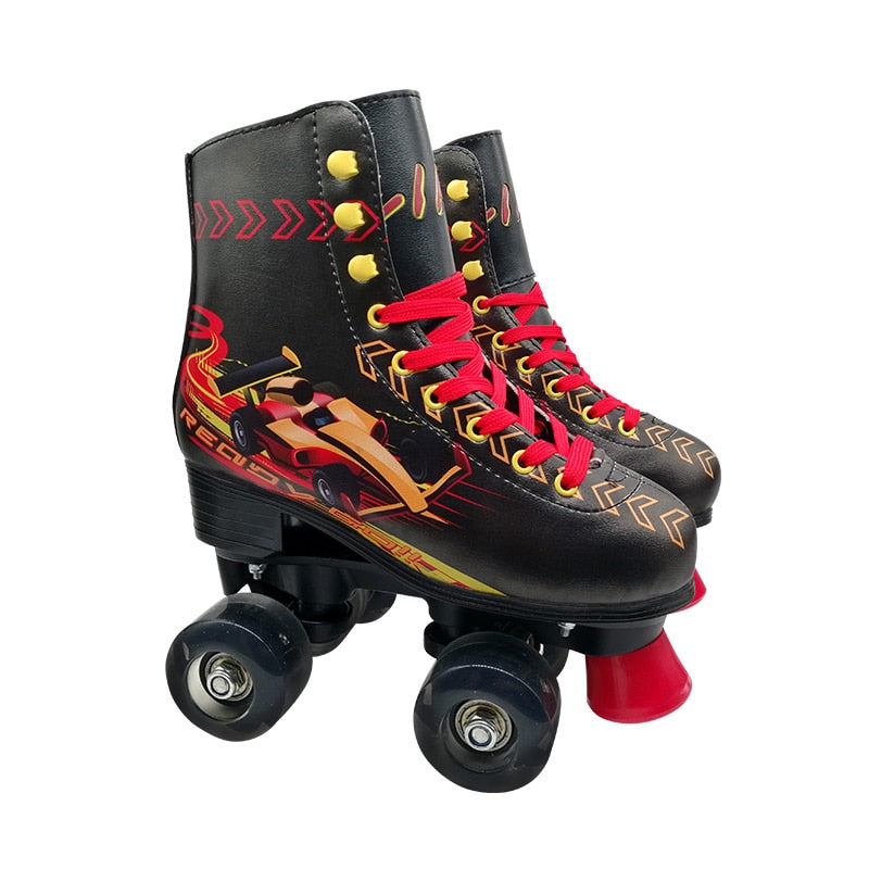 Skates Children 4 Wheels Led Balance Double Roller Skates