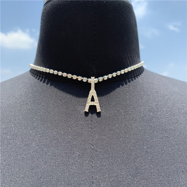 Crystal A-Z Letter Pendant Necklace Tennis Chain Choker