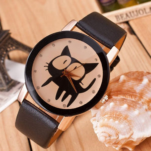 Women Watches Cat Crystal Imitation Leather Quartz Wrist Watch