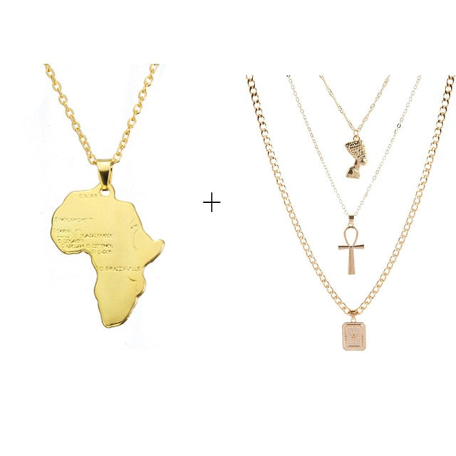 Anniyo Africa Map Pendant Necklace for Women & Men Gold Color