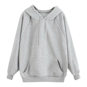 Women's Casual Solid Hooded Pocket Long Sleeve Pullover Sweatshirt