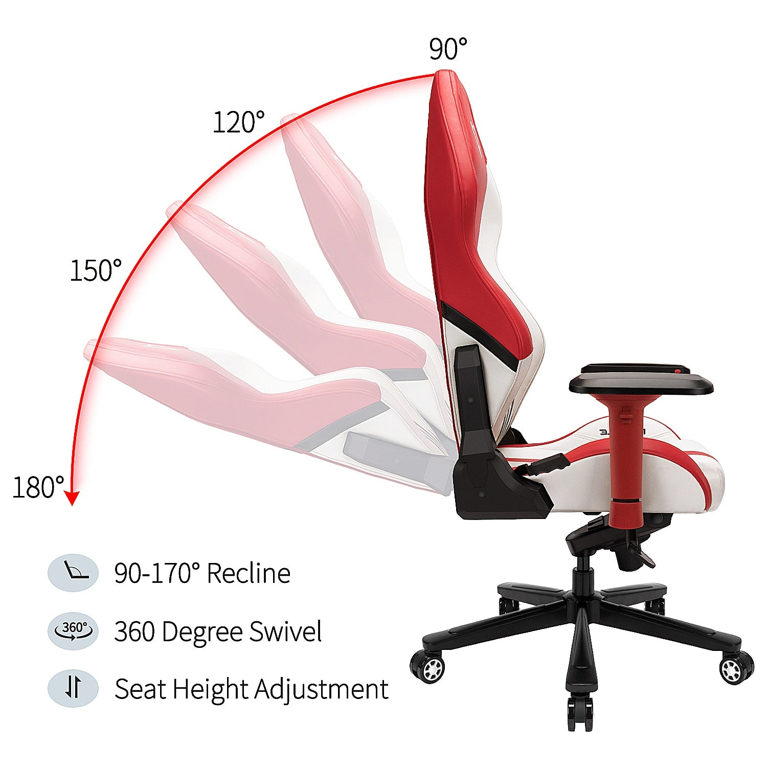 Furgle Office Gaming Chair Racing Style High-Back Office Chair PU Leather Executive Ergonomic Swivel Chairs with Rocking Mode