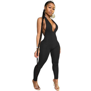 Sexy Deep V Neck Backless Body Jumpsuit Women  Sleeveless Leggings
