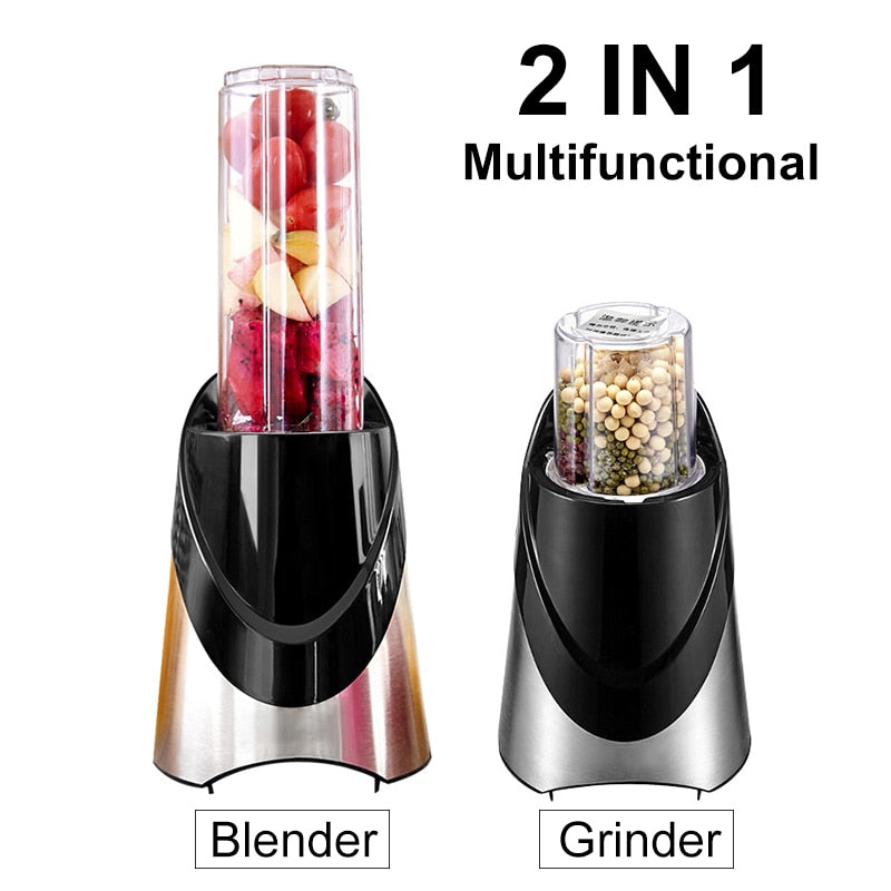 2 IN 1 Portable Electric Juicer Vegetables Fruit Extractors 500ML Bottle + 200ML Dry Grinder Cup