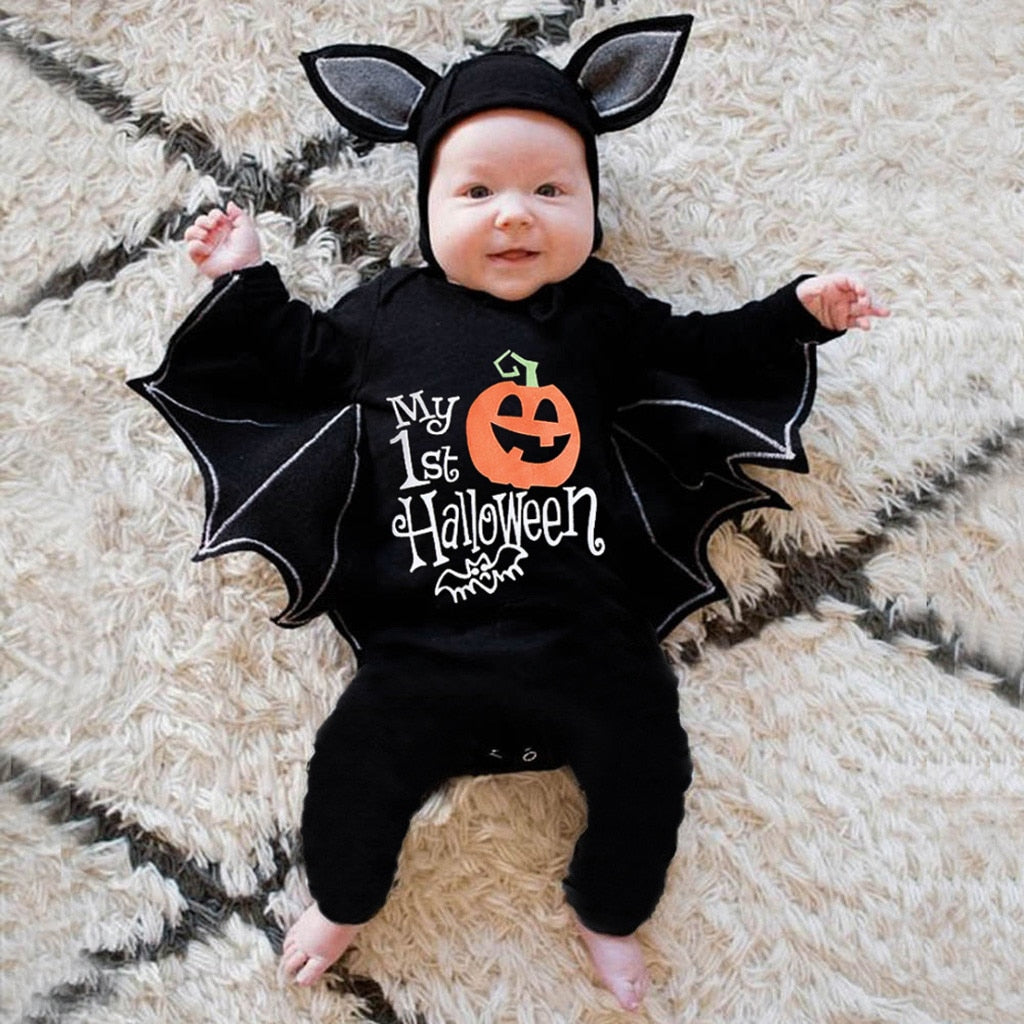 Baby Boy & Girl Bat Long Sleeve Kids Jumpsuit Halloween Costume