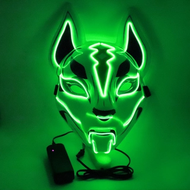 Neon Led Luminous Mask Carnival Festival Light Up Japanese Fox Mask Halloween
