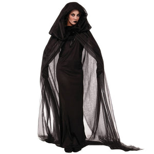 Halloween Death Hell Witch Devil Vampire Black Long Dress
