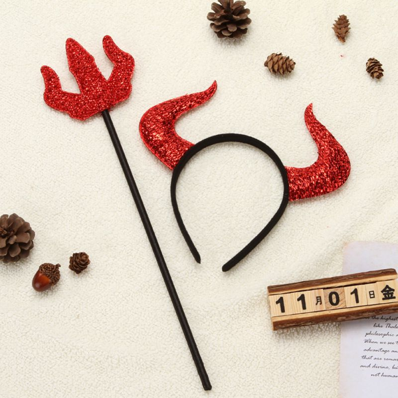 Devil Ears Headband Horns Scepter Set