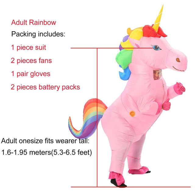 Inflatable Unicorn Costume Adult and Kid Size Rainbow Halloween Costumes