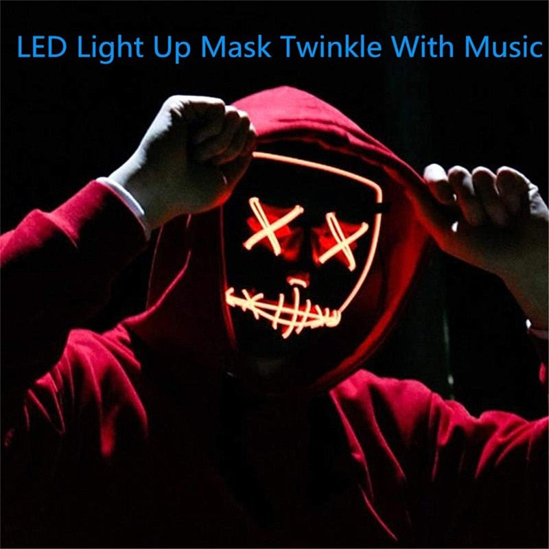 2020 Halloween LED Mask Purge Masks Election Mascara Costume DJ Party Light Up Masks Glow In Dark