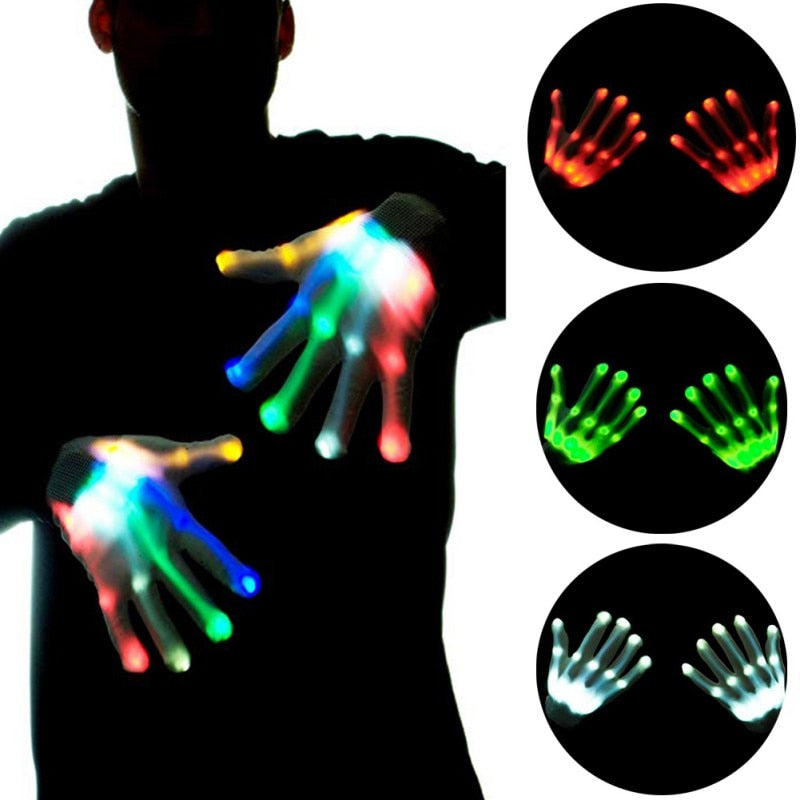 LED Gloves Neon Halloween Party Light Props Luminous Flashing Skull Gloves