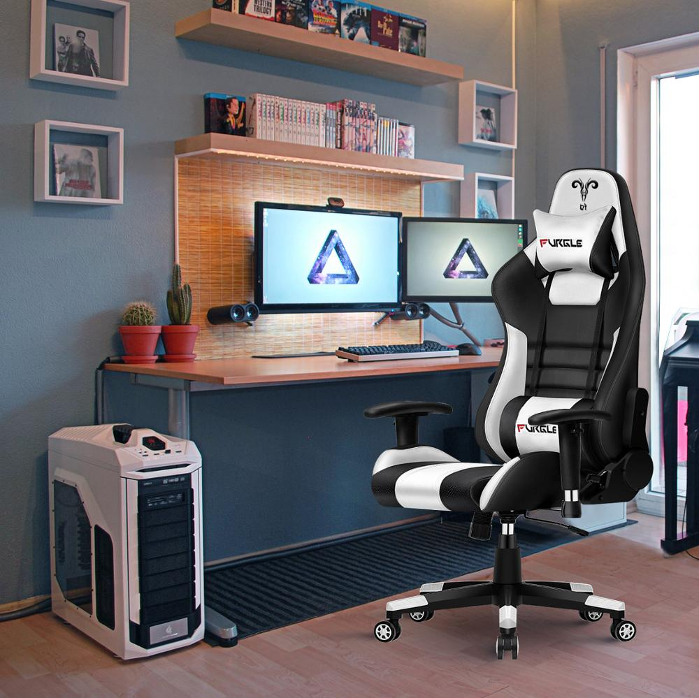 Furgle Gaming Chair Computer Chair Racing Office Computer Game Chair Ergonomic Backrest for Desk Chairs LOL Chaise Gaming Chair