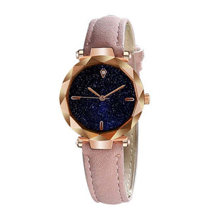 Casual Simple Stylish Women Watch Stainless Steel Scale Luxurious Starry Dial Quartz Watch