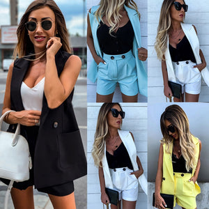Women Blazer Clothing Set 2 Pcs Ladies Set Vest Coat Blazer & Shorts