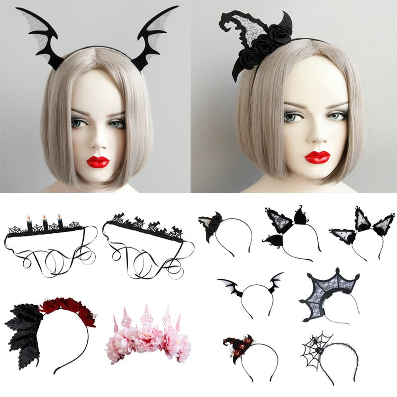 Halloween Headwear Lace Veil Topper Party Masquerade Hair Accessories Devil Horn