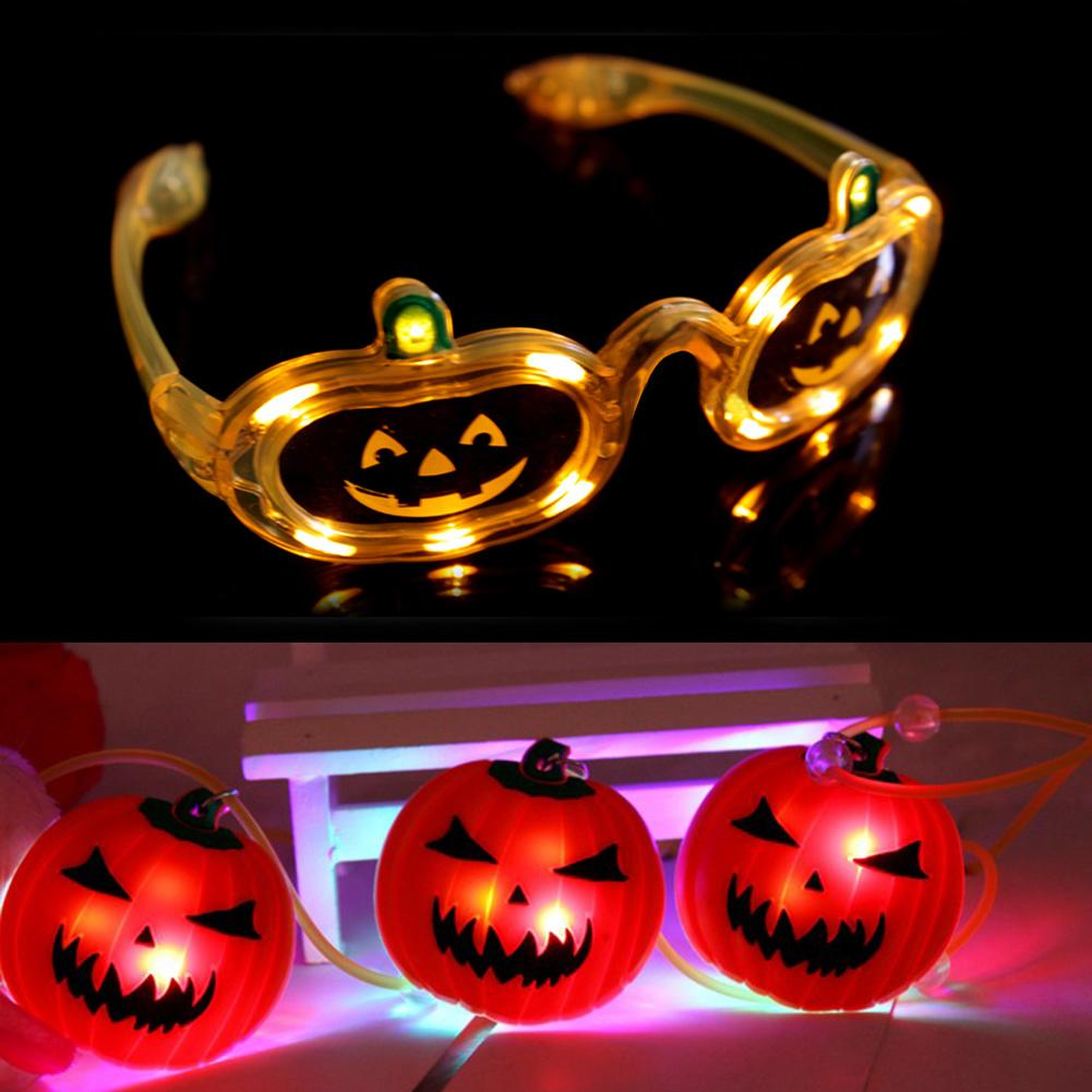 Pumpkin Led Halloween Glow Flashing Glasses and Soft Necklace.