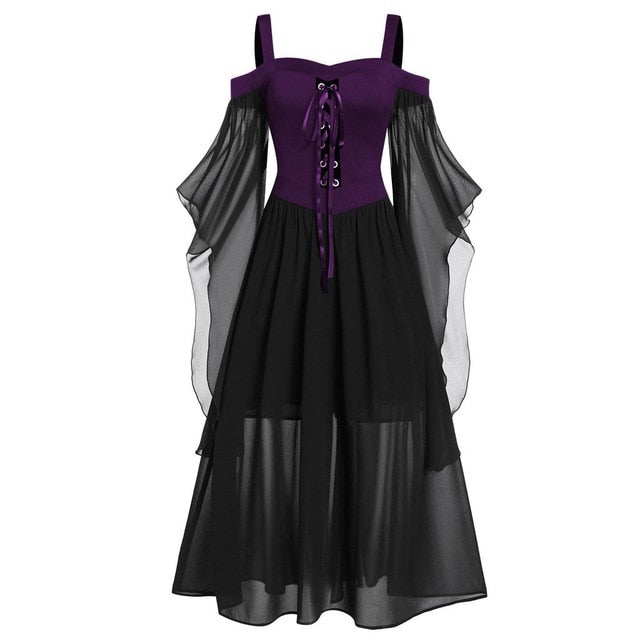 Halloween Costumes For Women Butterfly Lace Up Gothic Witch