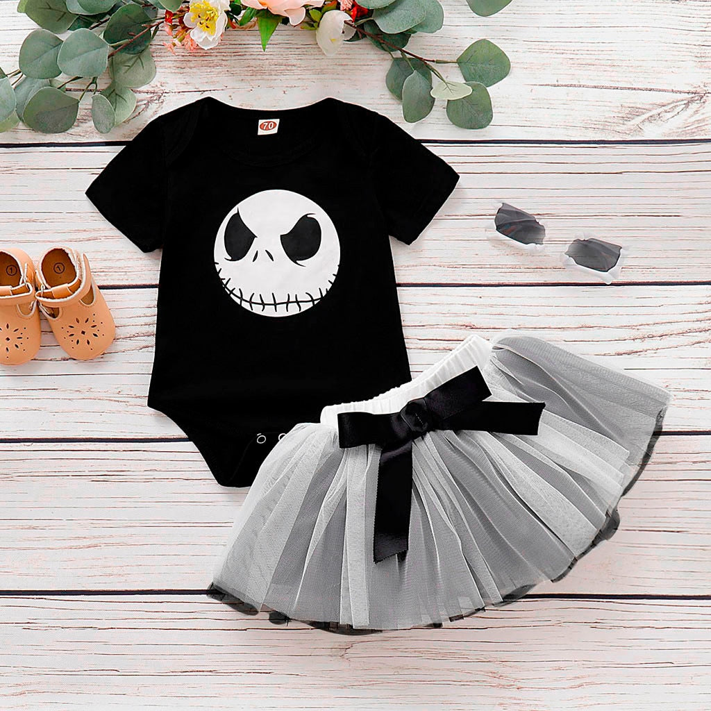 Baby Girl Nightmare Before Christmas Jack Romper Tutu Skirt Halloween Costume