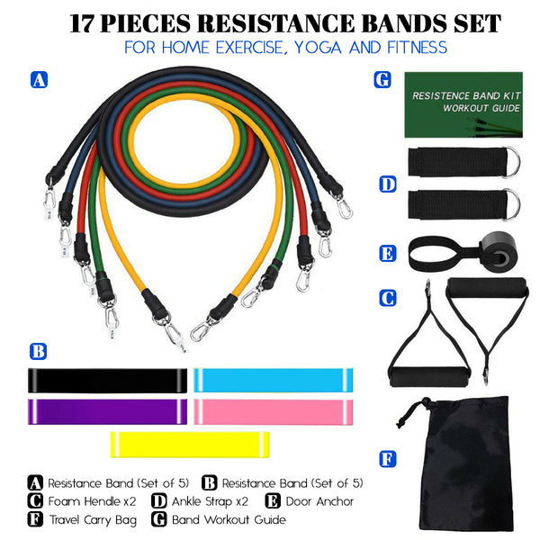 17 Pieces Resistance Bands Set For Home Exercise, Yoga and Fitness