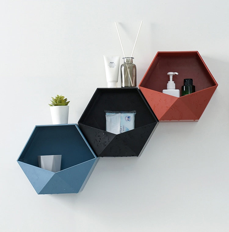 Nordic wall-mounted Geometric Punch-free Hexagon Decoration Shelf