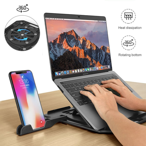 Adjustable Laptop Stand With a Phone Holder