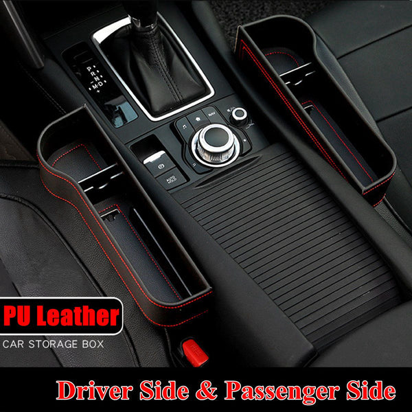Leather Left/Right Universal Driver Side Seat Gap Organizer Box Phone Holder Black/Beige/Red