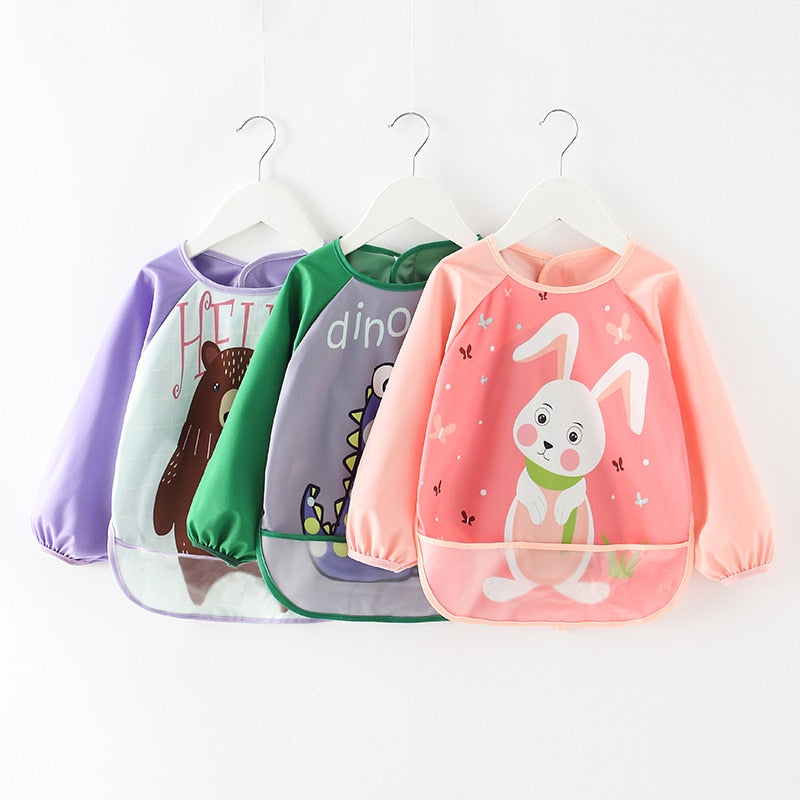 Cute Cartoon Waterproof Baby Bibs Apron With Pocket (4 Pack deal)