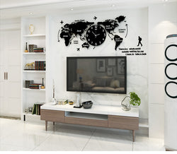 Large 3D Digital World Map Wall Clock