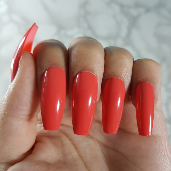 "Coral Gloss Long Coffin ""Ready to Ship"" Long Coffin ""Ready to Ship"" - TheNailsClub"