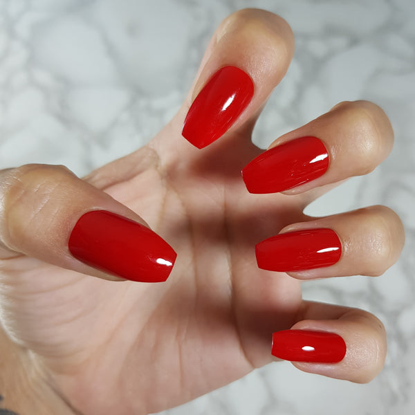 "Red Gloss short coffin ""Ready to Ship"" - TheNailsClub"