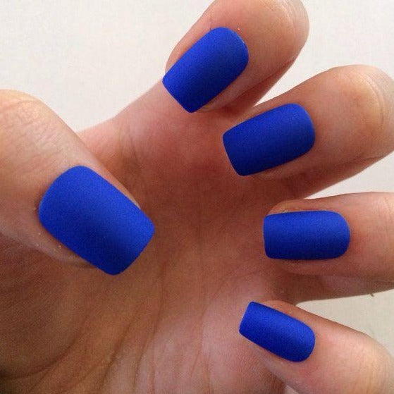 """Simple collection"" Short Blue Matte Square ""Ready to Ship"" - TheNailsClub"
