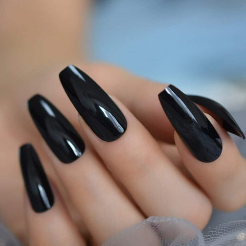 Very Long black Coffin *Ready to Ship* - TheNailsClub